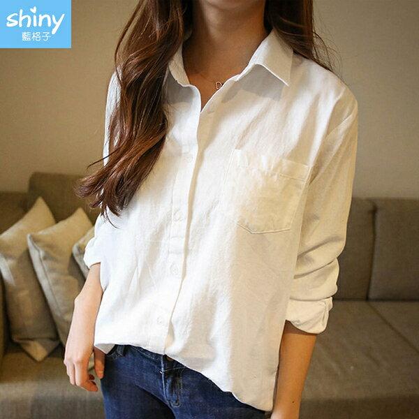 輕熟美人‧前短後長修身顯瘦翻領長袖襯衫- shiny藍格子【V9150】