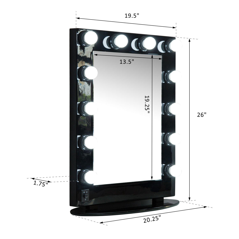 Homcom 20 X 26 Aluminum Alloy Dimmable Illuminated Hollywood Style Vanity Mirror
