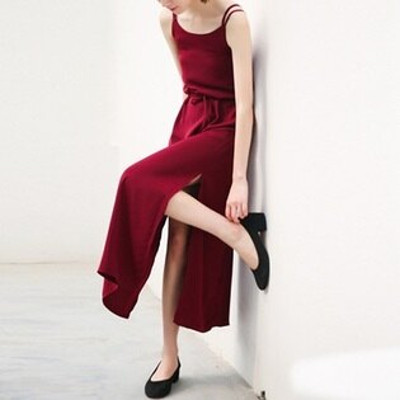 吊帶裙純色連衣裙-性感優雅交叉露背開岔女背帶裙子2色73rx51【獨家進口】【米蘭精品】