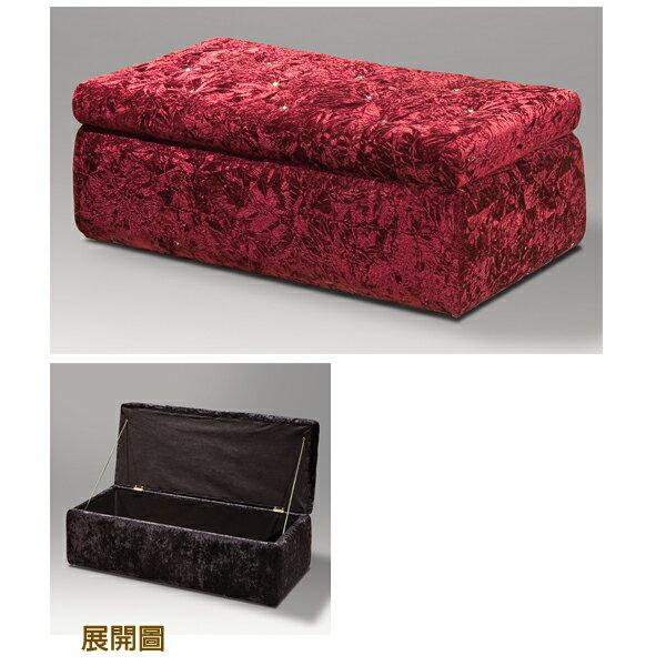 【IS空間美學】晶鑽絨布長方收納椅(紅) 2015-S-237-03