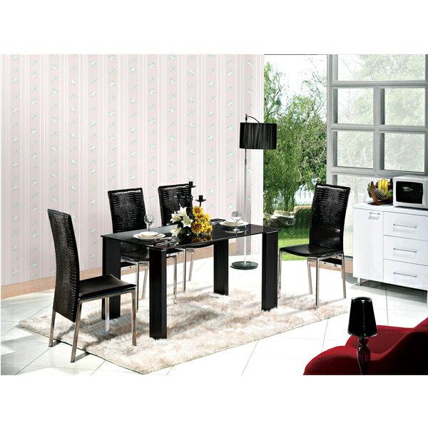 【IS空間美學】古拉爵黑色玻璃餐桌椅組  2015-S-422-05