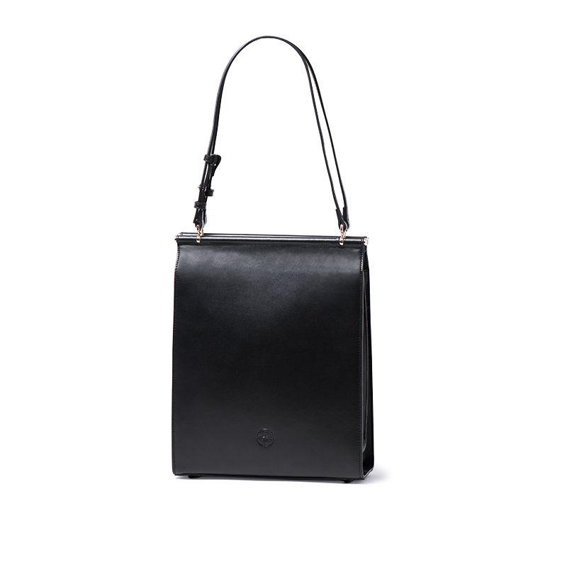 YAMA MIZU 簡約設計單肩包 牛皮托特包【黑色】