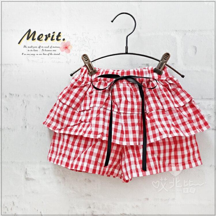 法式紅格子蛋糕短褲 蛋糕裙 褲裙 女童 可愛 清新 法式 田園 甜美 格子 格紋 清新 蝴