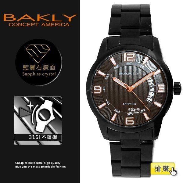 【完全計時】手錶館│BAKLY 美國意念 黑鋼 BA3086 39mm 藍寶石水晶玻璃 小b 扇形日期