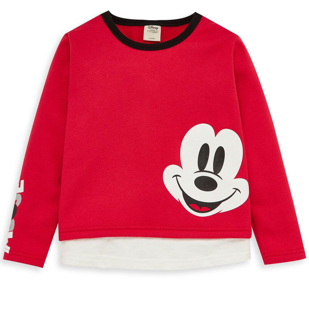 Disney 米奇系列隨性米奇刷毛上衣-紅色 - 限時優惠好康折扣