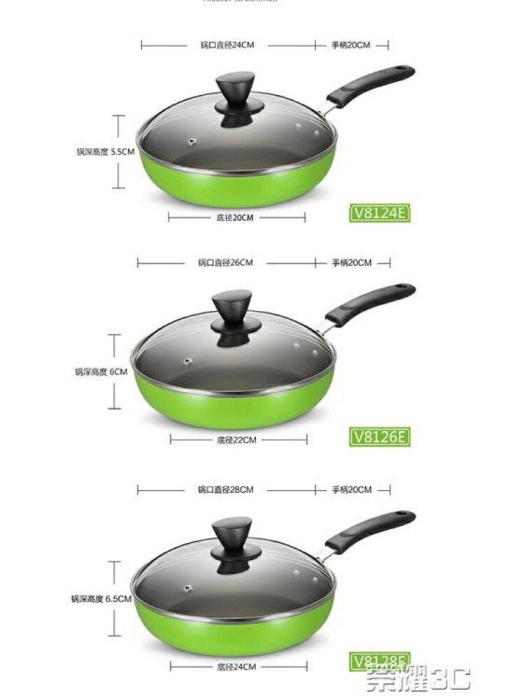 煎鍋 平底鍋不粘鍋煎鍋少油煙家用平底煎餅鍋具電磁爐燃氣灶通用 清涼一夏特價
