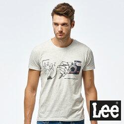 Lee 相機照片印刷短袖圓領TEE/RG-灰色-男款