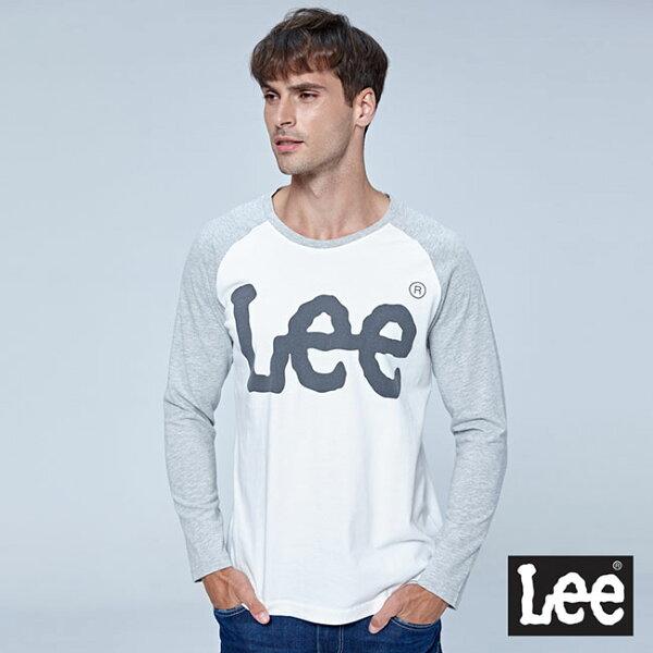 Lee大LOGO長袖圓領Tee-白拼接灰