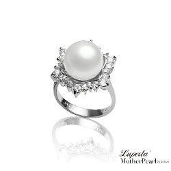 大東山珠寶 雪花燦爛 南洋貝寶珠 璀璨純銀戒指
