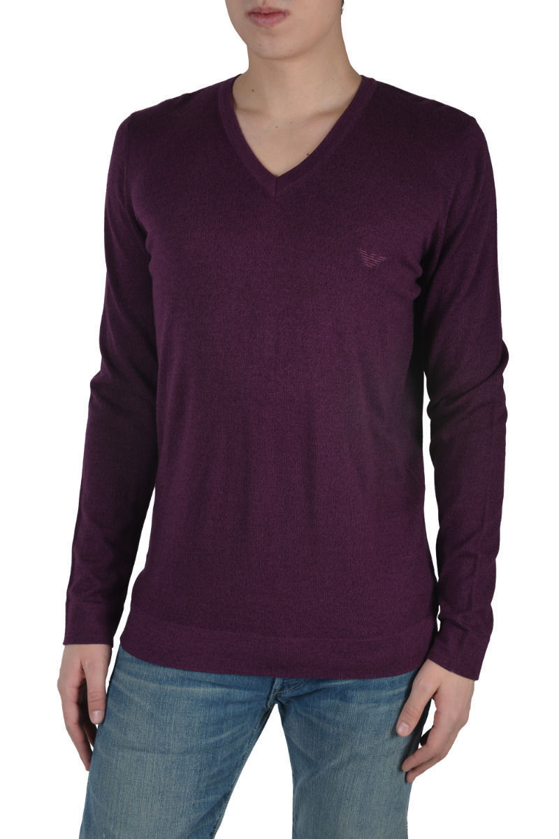 1ab3a800c59ae3 Emporio Armani Men's Purple V Neck Long Sleeve Wool Sweater Size US XL IT  ...
