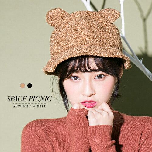 漁夫帽SpacePicnic|現貨.小熊耳朵毛料漁夫帽【FM-00645】