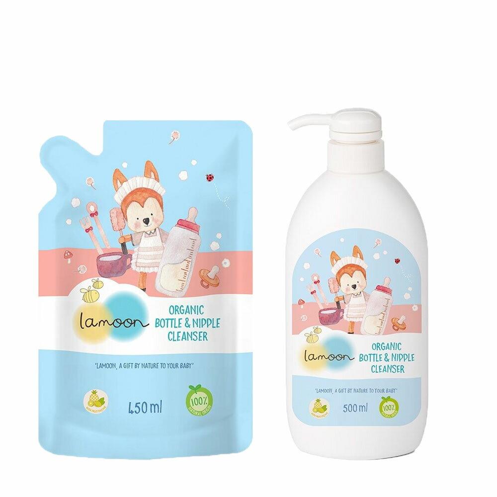 【Lamoon baby】有機奶蔬清潔液 (1罐+1包)