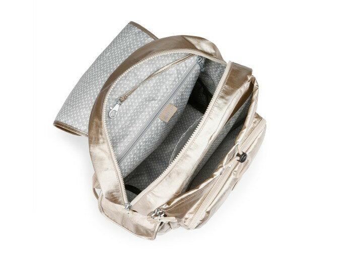 OUTLET代購【KIPLING】雙側口袋大容量旅行後背包 金色 1