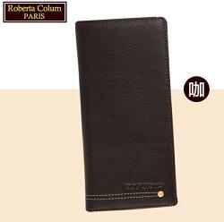 【Roberta Colum】諾貝達 男用皮夾 長夾 專櫃皮夾 進口軟牛皮鉚釘長夾 (咖啡色23158)【威奇包仔通】