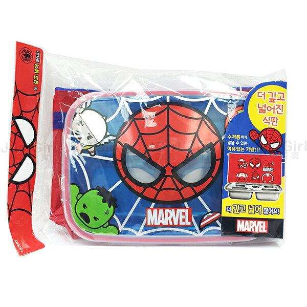 復仇者聯盟 蜘蛛人 餐盤 盤子 304不鏽鋼餐盤 附袋子 餐具 正版韓國進口 JustGirl