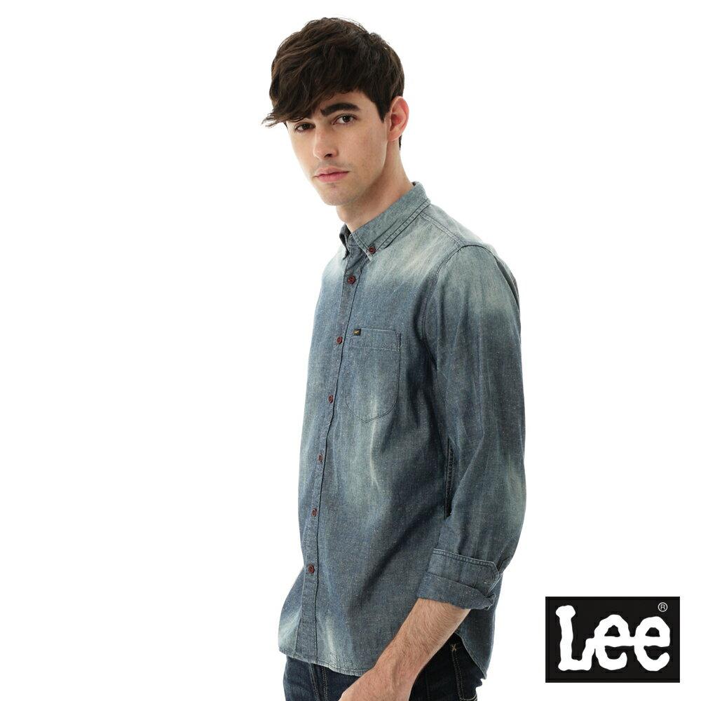 Lee 牛仔襯衫 棉點竹節深淺漸層 -男款-中古淺藍 3