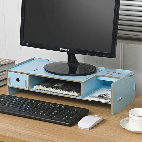 ●MY COLOR●DIY木質拼裝抽屜電腦螢幕架 單抽屜款 辦公室 桌面 收納 置物 鍵盤 托高【P432】