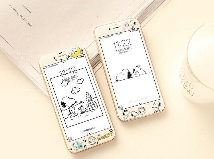 現貨 iPhone8 7 6 滿版 i8保護貼 史努比 3D 全屏 卡通 i7玻璃貼 浮雕 不碎邊 軟邊 i6保護膜 6s鋼化膜【GP美貼】