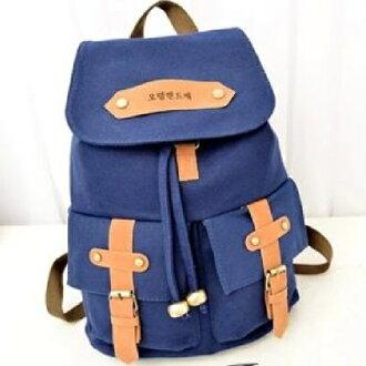 * Anne&Alice包包購 * ~韓系學院風簡約皮質裝飾帆布包休閒背包後背包~男女通用中性包款~*