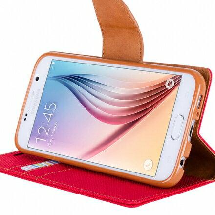 Mercury Samsung Note 5 韓風雙色牛仔紋 側掀磁扣支架式皮套 矽膠軟殼 紅灰黑色 2