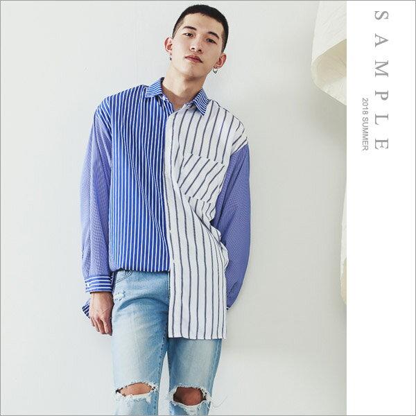 現貨韓國製襯衫複合直紋拼接【ST20304】-SAMPLE