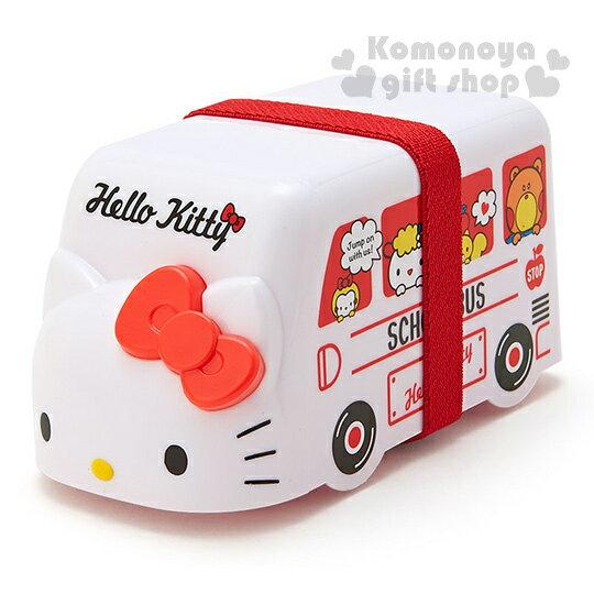 〔小禮堂〕Hello Kitty 校車造型雙層微波便當盒《白.紅.大臉.朋友.460ml》附鬆緊帶