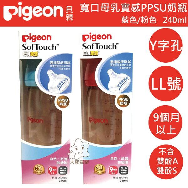 【大成婦嬰】Pigeon貝親寬口母乳實感PPSU奶瓶240ml(LL奶嘴)藍色粉色