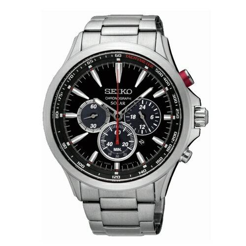 SEIKO SOLAR計時太陽能腕錶/黑/V175-0DM0D/SSC493P1