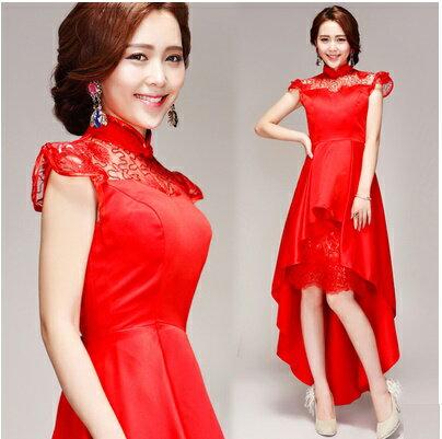 天使嫁衣【AE2877】紅色小立領包肩前短後長中式禮服˙預購特價款