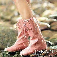 LINAGI里奈子 ~90~86~68~夏日日系女孩時上綁帶防水內增高中統雨靴3色