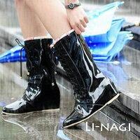 LINAGI 里奈子精品 【90-90-65】甜美交叉綁帶小碎花內增高個性高筒防滑雨靴/雨鞋 可加大尺碼