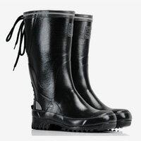 LINAGI里奈子精品【E9257-75】中大尺碼歐美男女款潮流簡約繫帶高筒低跟防水雨靴/雨鞋