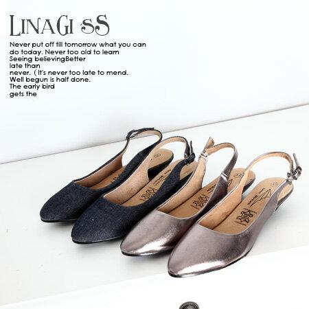 LINAGI里奈子 ~K173~9295~韓國空運 甜美性感氣質搭扣尖頭低跟包鞋涼鞋牛仔藍