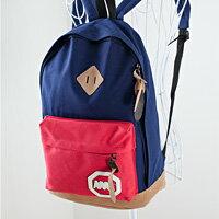LINAGI里奈子精品【H412-22-35】簡單素面多色混搭風MM徽章內隔層休閒帆布後背包