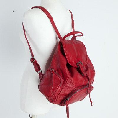 LINAGI里奈子精品【BA807-65-98】韓KOREA 流行時尚前拉鍊袋雙側拉鍊袋內拉鍊袋暗袋可放A4大容量束繩皮帶磁釦後背包