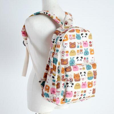LINAGI里奈子精品【H706-82-64】可愛俏皮圖樣前大拉鍊袋可放A4/筆電夾層袋休閒後背包