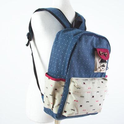 LINAGI里奈子精品【H752-62-78】俏皮逗趣圖案上蝴蝶結人像圖樣小袋前拉鍊大袋側袋內筆電夾層可放A4帆布後背包