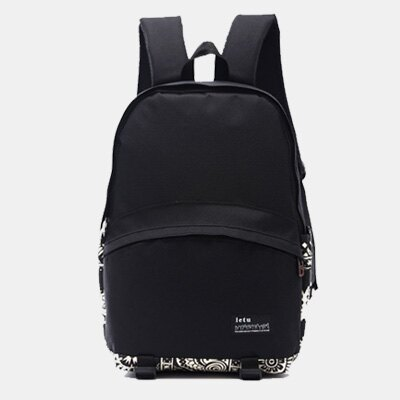 LINAGI里奈子精品【H753-92-45】休閒流行素面拼接圖樣設計風前拉鍊大袋雙側邊袋內筆電夾層可放A4帆布後背包