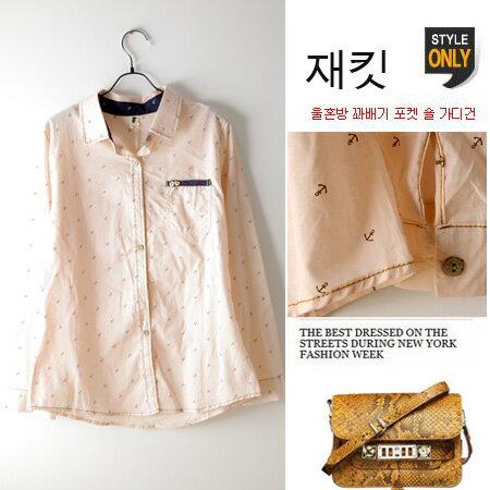 LINAGI 里奈子 ~M8052~5395~韓國空運 薄棉船錨學院風長袖襯衫