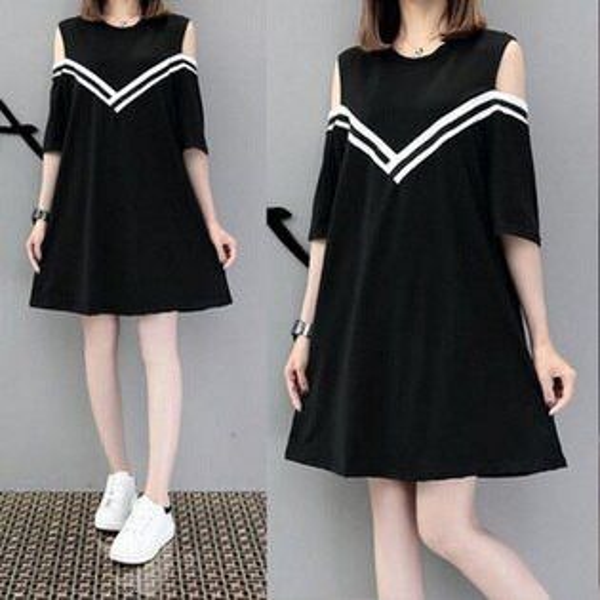 糖衣子輕鬆購【HY7120】韓版時尚百搭修身顯瘦露肩V領連身裙(加大碼)