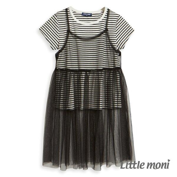 Littlemoni網紗假兩件式上衣-黑色