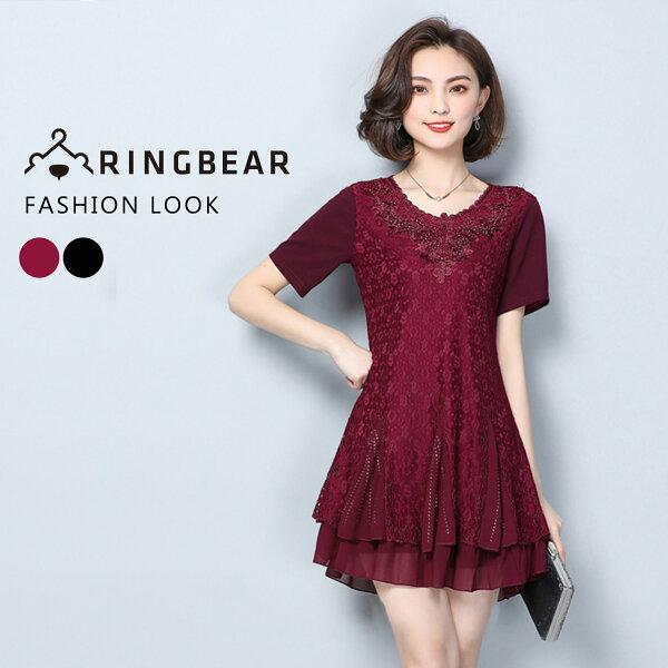 氣質洋裝--優雅圓領空花蕾絲貼鑽假兩件雪紡剪接短袖連身裙(黑.紅L-3L)-U496眼圈熊中大尺碼