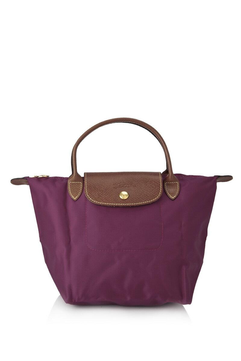 [短柄S號]國外Outlet代購正品 法國巴黎 Longchamp [1621-S號] 短柄 購物袋防水尼龍手提肩背水餃包 覆盆紫 0