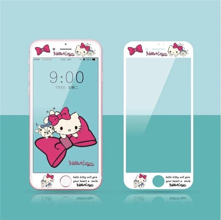 iPhone i6 I6s i6plus i7 i7plus 天使kitty 全屏保護貼 3D卡通 超薄9h鋼化膜 彩膜 手機螢幕貼【GP美貼】