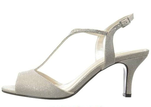 Caparros Womens Delicia Open Toe Formal T-Strap Sandals, Nude Glimmer, Size 10.0 aa5b9c4340ecd27fcc9b15465a763c95