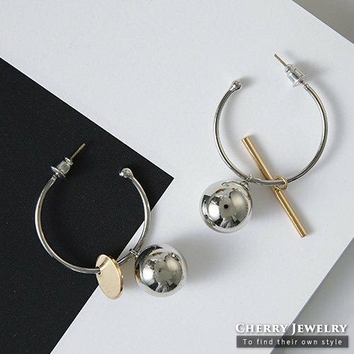 簡約金屬球球不對稱耳環【櫻桃飾品】【10424】