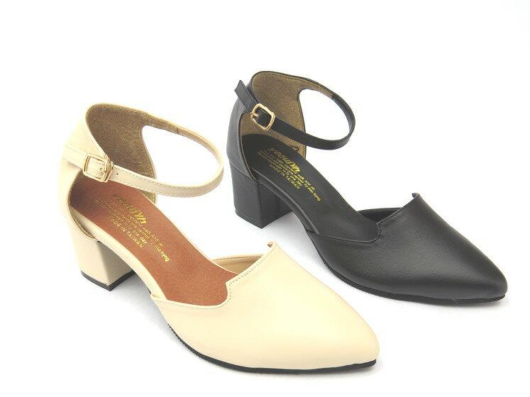 *高跟鞋* 簡約舒適繞踝高跟尖頭包鞋06-9516(黑/米)☆【彩虹屋】☆現+預