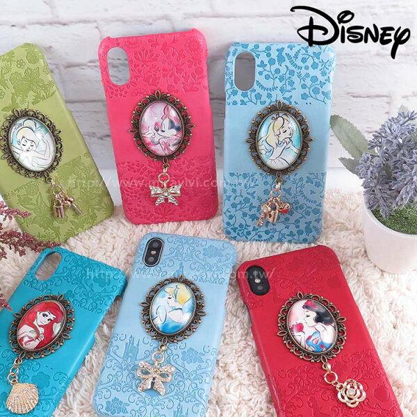 Miravivi:Disney迪士尼iPhoneX時光寶石吊飾皮革壓紋背蓋保護殼