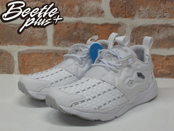 女生 BEETLE REEBOK FURYLITE NEW WOVEN 全白 編織 襪套 慢跑鞋 V70797 1