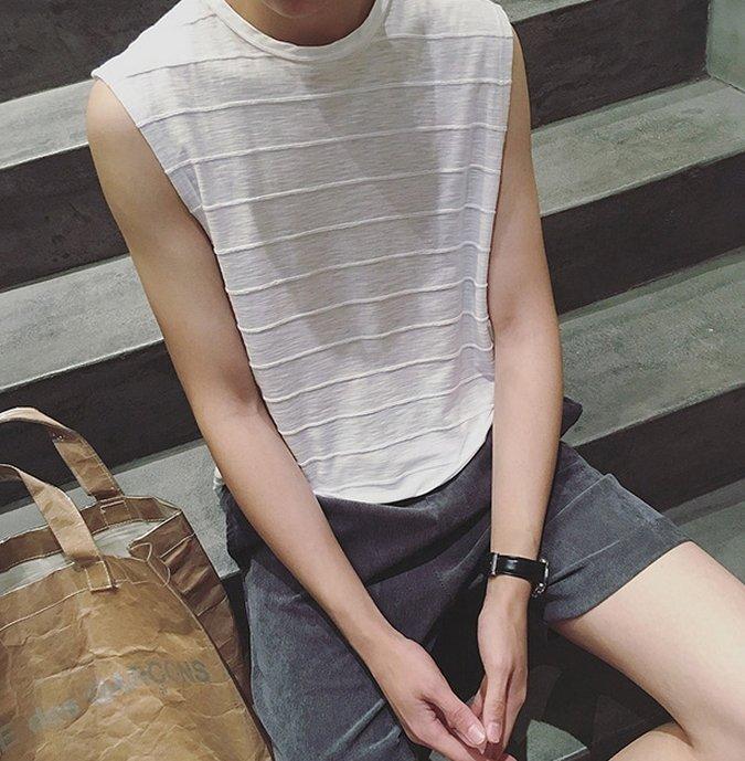 【JP.美日韓】韓國棉質 寬肩 背心 多色 樓梯 上衣 短袖 無袖